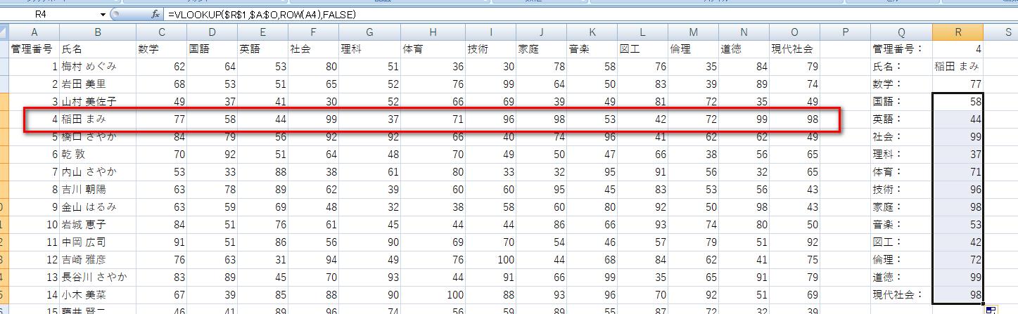 抽出すべきデータが多い出力書式でオートフィルを行った例
