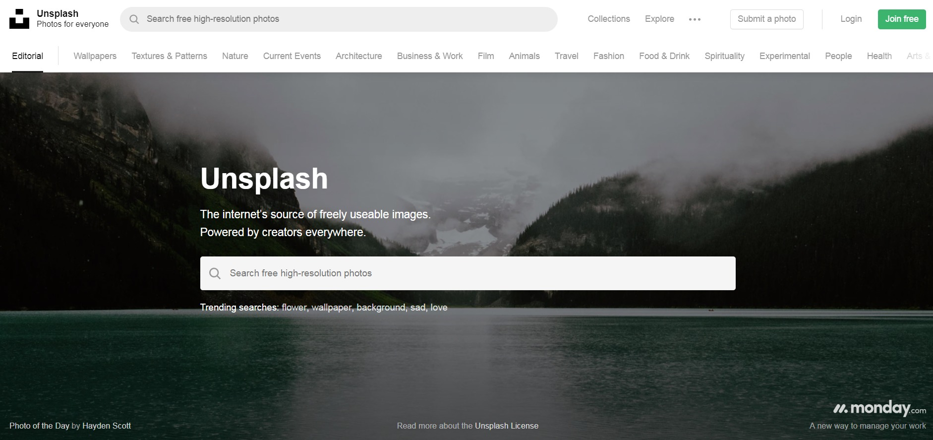 screen shot of unsplash